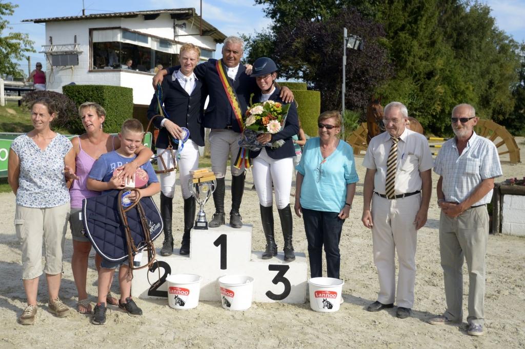 Le podium du championnat des As composé de Marc Goffin, François Brichart et Maria Magdalena Celotto (Crédit photo : Photo Evénement)