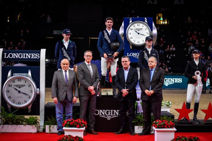 Le podium du Grand Prix (Photo : LONGINES CSI BASEL/Katja Stuppia)