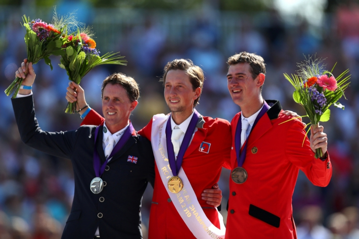 Ben Maher, Martin Fuchs et Jos Verlooy (Photo : Dean Mouhtaropoulos/Getty Images for FEI)
