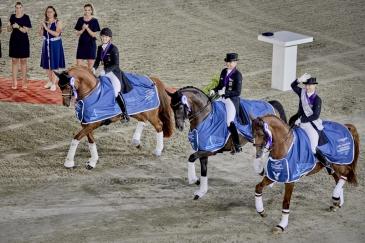 Les trois cavalières médaillées dans le Spécial à Rotterdam (Crédit photo: FEI/Liz Gregg)