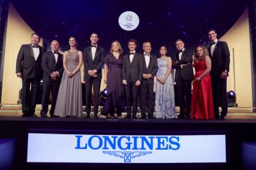 Les lauréats des FEI Awards 2018 en compagnie d'Ingmar De Vos, président de la FEI (Photo : Liz Gregg / FEI)