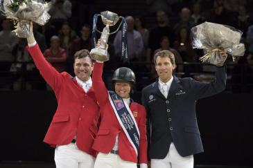 Beezie Madden, Devin Ryan et Henrik von Eckermann à Bercy (Crédit photo: FEI/Jim Hollander)