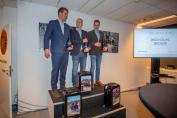 L'équipe d'attelage félicitée ce lundi 26 novembre au siège de la Fédération belge, à Zaventem (Crédit photo : Dirk Caremans - Hippo Foto)